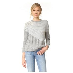 NWOT-Current Elliott Mixed Cable Grey Sweater